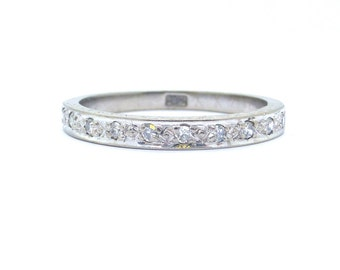Art Deco diamond wedding band Eternity ring 1920s 18ct white gold engraved half hoop Antique vintage anniversary stacking ring Size Q~US 8