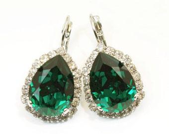 Emerald Green Earrings Emerald Wedding Emerald Green teardrop Swarovski Crystal Earring Drop Earrings Halo earrings rhinestones Silver,SE101