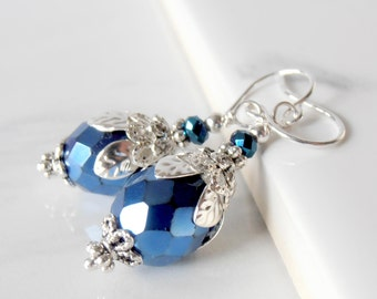 Blue Earrings, Royal Blue Faceted Glass Bead Earrings Holiday Jewelry Sapphire Blue Dangles Horizon Blue Bridesmaid Jewelry Sterling Earwire