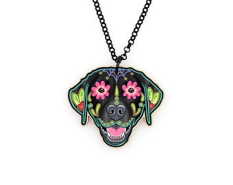 SALE Regularily 19.95 - Labrador Retriever in Black - Day of the Dead Sugar Skull Dog Necklace