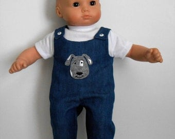 """Blue denim overalls with dog applique for 15"""" dolls like Bitty Baby boy or girl"""