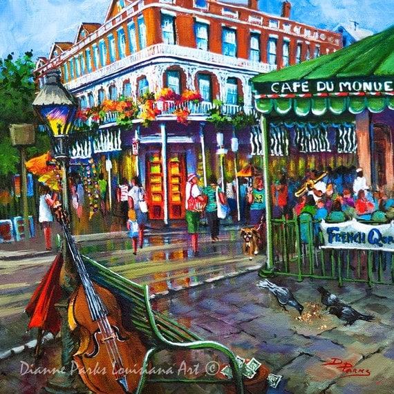 Caf du monde beignets and jazz new orleans art new orleans for Art du monde