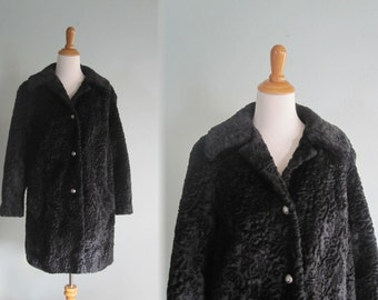Vintage Faux Black Persian Lamb Coat with Silver Buttons - Glam 60s Fake Black Persian Lamb Jacket - Vintage 1960s Coat M L
