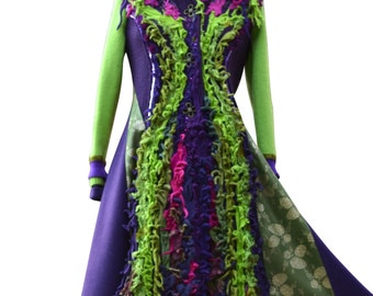 Patchwork green purple long Sweater COAT, fantasy boho wearable art clothing, up cycled one of a kind Eco-Couture. Size S/M. Ready to ship