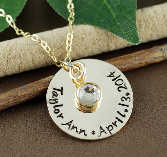 Personalized Gold Name Necklace, Hand Stamped Name Necklace, Personalized Jewelry, Personalized Date Necklace, Mother's Day Gift