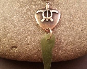 Turtle Totem Pendant in Copper and Sterling Silver with hand drilled Chesapeake Bay Beach Glass