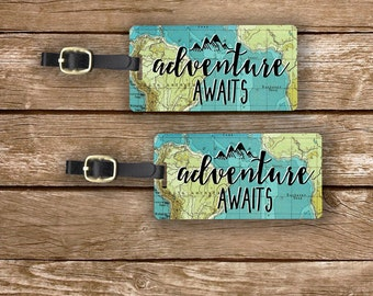 Luggage Tag Set Adventure Awaits Vintage Map Metal Luggage Tag Set With Printed Custom Info On Back, 2 Tags Choice of Straps
