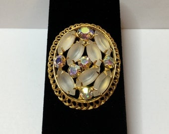 Brooch, Frosted Navette Aurora Borealis, Vintage DeLizza & Elster Juliana Pin