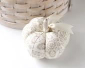 Off White Floral Pincushion Cotton Pumpkin Pincushion Floral Pin Keep