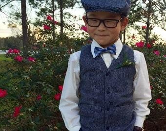 Herringbone wool Hat, Vest and linen pants for ring bearer baptism baby boy suit birthday boy suit christening