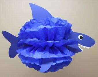 Shark tissue paper pom pom kit  under the sea ocean water mermaid decoration