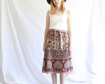 vintage 70s cotton wrap skirt one size