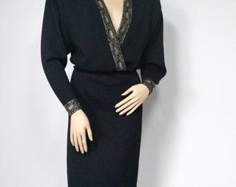 Dress St. John Black Knit Dress Studded Sweater Dress 1980's Designer Big Shoulder V Neck Dress Size 10