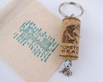 Feeling Fierce Bear Key Ring, Wine Cork matches Charm!