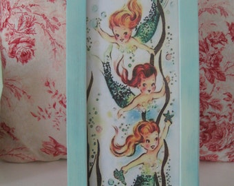 Large Framed Vintage Mermaid Print