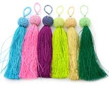 Beaded Tassels, 6pcs, 3 1/2 Inch, Mixed Colors, Jewelry Tassel,  Nylon Tassel, Long Tassels -CS19