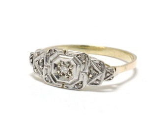 Art Deco  Platinum & 18K Gold Diamond Ring - Size 7.5