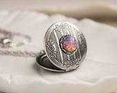 Fire Opal Locket Necklace