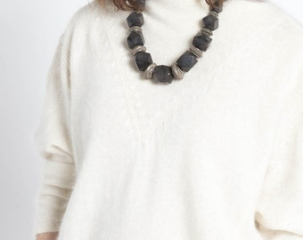 Vintage 70s Black Hexagon Wood and Brass Bead Necklace