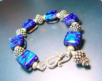 Bold Statement Bracelet, Sara Creekmore Dichroic Glass Bracelet, Bali Silver Beads, Cobalt Neon, Fused Glass, Heirloom Art Glass