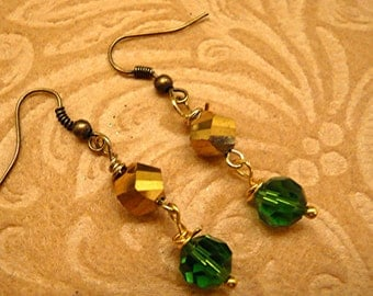 Irish Shamrock Green Swavrovski Crystal Rainbow Leprechaun Gold Mirror Bead Earrings