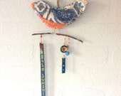 Mixed Media Fabric Bird on a Twig, Bird Wall Decor, Blue and Orange Bird