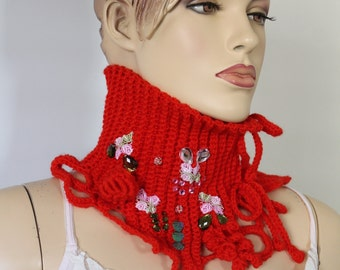 Bohemian Freform Crochet Red  Scarf , Neck Warmer , Neckpiece, Mori Girl, Gift for her, Christmas gift, Boho Chic Unique scarf, Knit scarf
