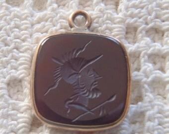 Vintage Pocket Watch Fob Intaglio Cameo Carnelian Gold Setting