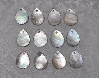16 X 12 mm Mother of Pearl Teardrops Beads Charms 10 Pieces
