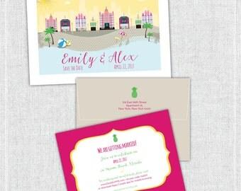 Cute Art Deco Beach Save the Date, Wedding Invitation, Welcome Itinerary -- Miami Beach, Florida