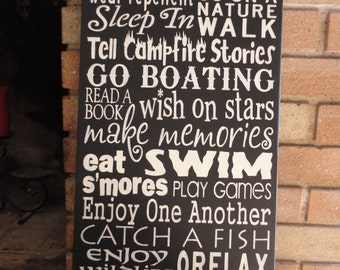 """Lake Rules/Enjoy The Fresh Air/Black/ Home Decor Sign/Wood Sign/Porch sign/Patio Sign/Primitive/Cabin Sign/DAWNSPAINTING/12"""" x 24"""""""
