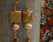 yellow earring, golden yellow, long earring, Dangle earrings, Mookaite earring, boho earring, gemstone earring, gift for her