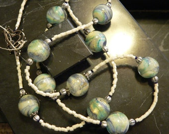 blue necklace, cream and blue, summer necklace, blue glass necklace, long cream necklace, beach necklace, boho necklace