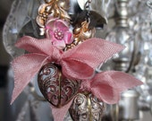 EARRINGS - vintage hearts and flowers filigree repousse hand painted pink ribbon bows valentine dangle, the french circus by robyn parrish