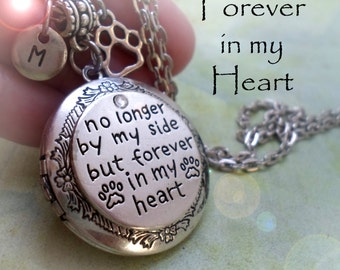 Pet Memorial Locket, No Longer By My Side But Forever In My Heart, Pet Loss Gift, Sympathy, Loss of Pet Grief, Animal, Pet Lover Necklace