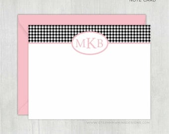 Personalized Stationery • Monogrammed Houndstooth {FLAT} • 10 Note Cards with Envelopes • Custom Stationery • Custom Stationary • Thank You