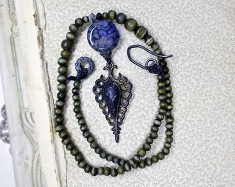 Beaded Necklace -- Rustic Assemblage Necklace - Vintage Metal Pendant, Dragon Vein Agate Coin - Army Green Glass Beads - Madre de Dragones