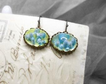 SALE | 10 DOLLARS | Altered Cabochon Earrings - Atlantis - Drilled and Embellished Vintage High Domed Lucite Translucent Cabs