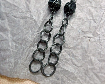 Rustic Bead and Wire Earrings - Long Stone & Chain Link Earrings - Raw Black Tourmaline Nuggets - Steel Wire Links - Dark Gothic Glam