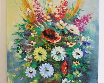 Vintage original oil painting on canvas Vase Flowers bouquet floral textured Palette knife impressionist large 24 x 36 signed