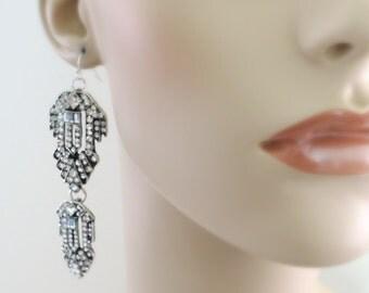 Art Deco Earrings - Crystal Earrings - Silver Earrings - Bridal Earrings - Upcycle Earrings - Vintage Wedding Jewelry - handmade jewelry