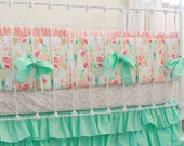 Mint and Peach Crib bedding , Mint Reminisce Baby Bedding set , Mint Ruffle Crib Skirt , floral nursery bedding for girl, baby girl cribset