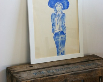 Pastel drawing in blue - woman with hat- original- one available