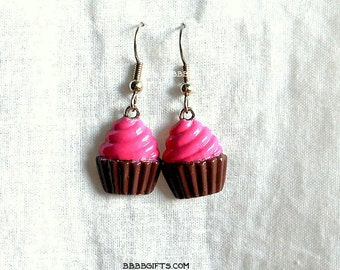 Pink Brown Cupcake Earrings