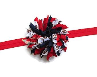 New England Patriots Hair Bow Clip, Korker Headband, Korker Hair Bow, Baby Girl Hair Bow, Korker Bow, Football Headband, Toddler Hair Bow