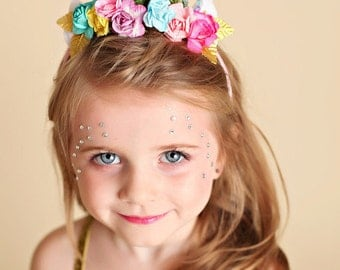 Unicorn Headband Floral and Glitter Crown Costume Halloween