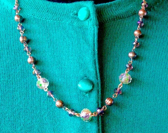 Amethyst, Swarovski Crystal, Rose Gold and Freshwater Pearl Necklace & Earring Set - Mid Century Modern - Vintage Inspired