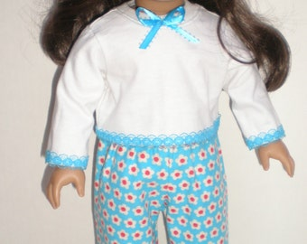 """Turquoise, red, & white PAJAMAS fits 18"""" dolls"""