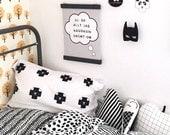 Kids Pillow / Kids Decor / Plus Sign Pattern Pillow / Cat Pillow / Modern Childrens Bedding / Monochrome Nursery Black and White Pillowcase