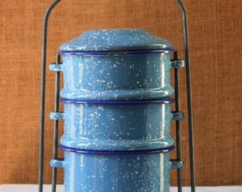 VINTAGE ENAMEL Ware Blue Granite Enamelware Lunch Box INDUSTRIAL Metal 3 Stack Lunch Box French Enamel Lunch Pail Great Vintage Metal